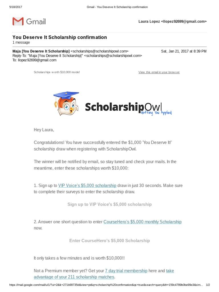 gmail - you deserve it scholarship confirmation | Online