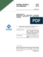 Ntc 2774, Evaluacion de Materiales Aislantes Termicos Empleados en Colectores Solares
