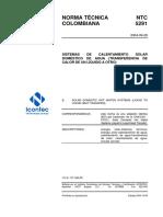 Ntc 5291, Sistemas de Calentamiento Solar Domestico de Agua (Transferencia de Calor de Un Liquido a Otro