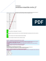Ecuación Recta 3º ESO Solución Ejercicios Pendiente