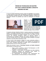 Curso Superior de Tecnologia em Gestão Ambiental da Fatec Jundiaí recebeu conceito máximo no MEC