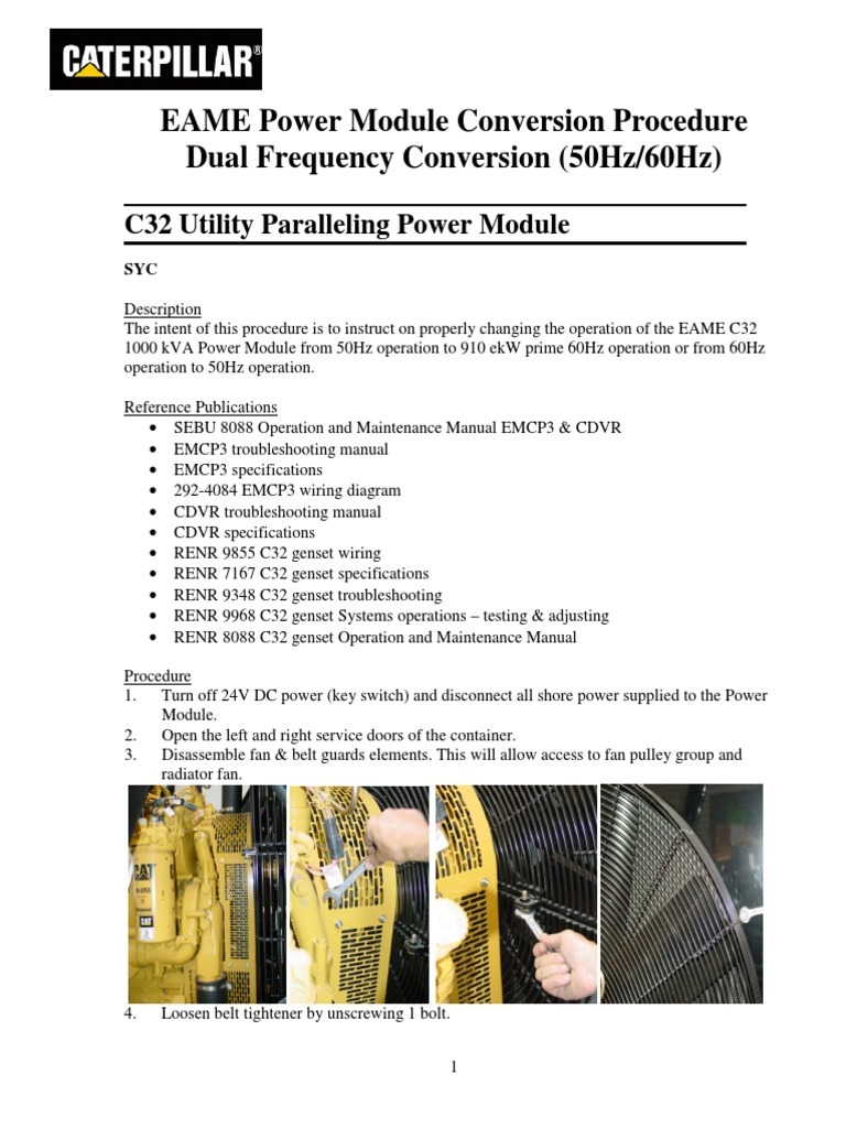 Caterpillar Cdvr Wiring Diagram Trusted Vactor Diagrams 60hz 50hz Conversion Procedure C32 Electric Generator Belt