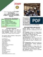 Moraga Rotary Newsletter May 9, 2017