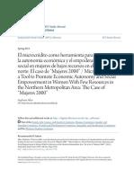 El Microcrédito Como Herramienta Para Promover La Autonomía Econó