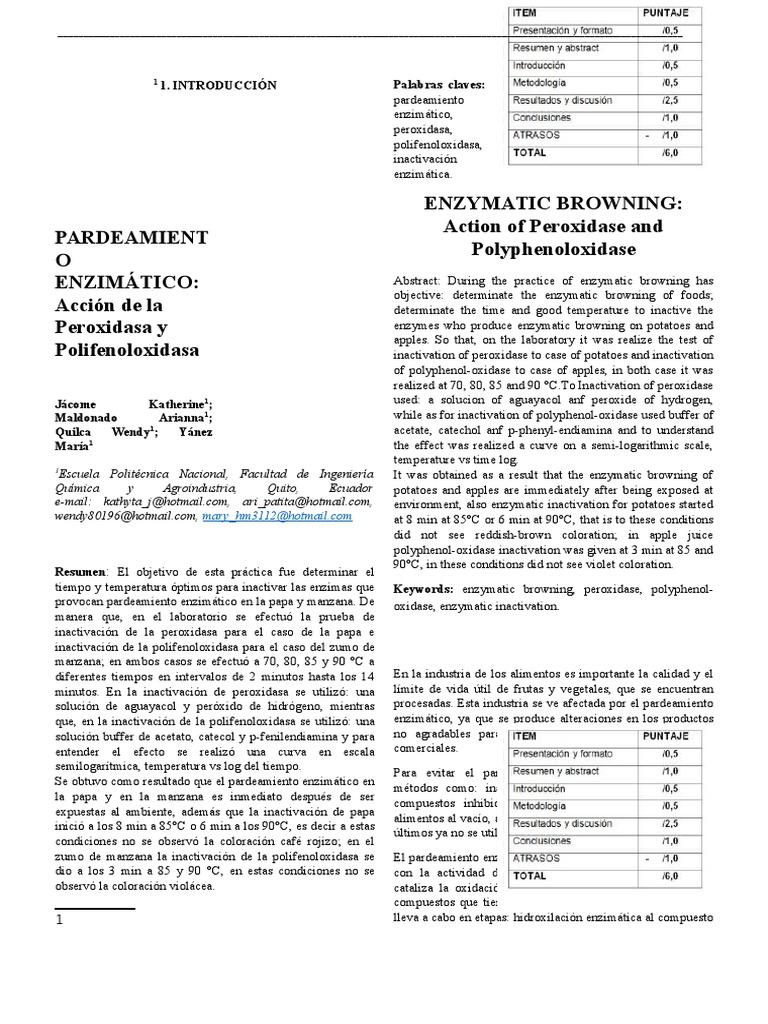 PARDEAMIENTO ENZIMÁTICO: Acción de la Peroxidasa y Polifenoloxidasa