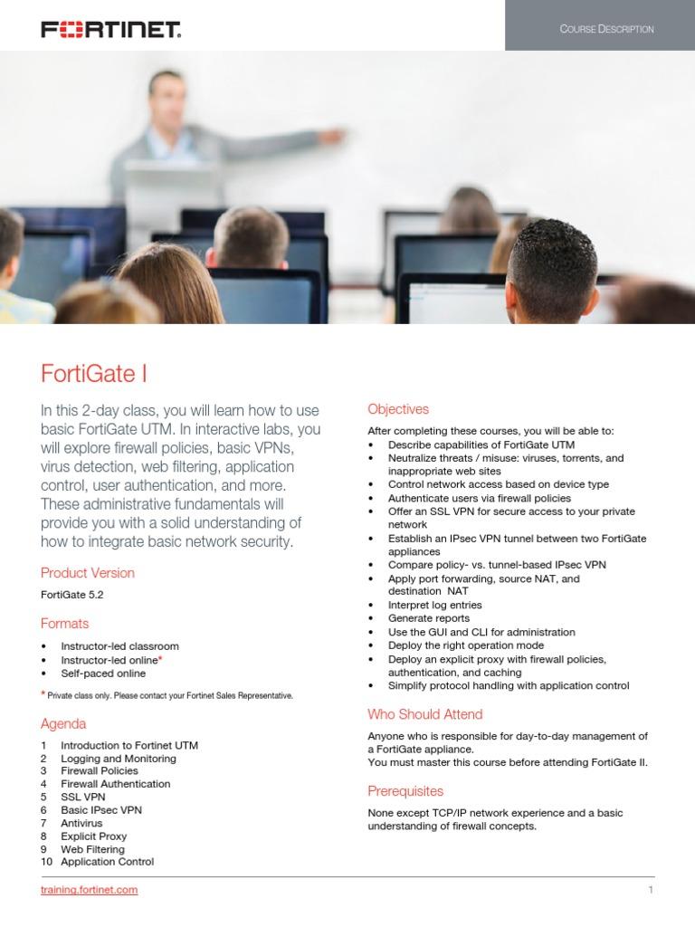 FortiGate I Course Description-Online V2   Firewall (Computing