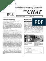 September 2004 Chat Newsletter Audubon Society of Corvallis