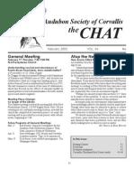 February 2005 Chat Newsletter Audubon Society of Corvallis