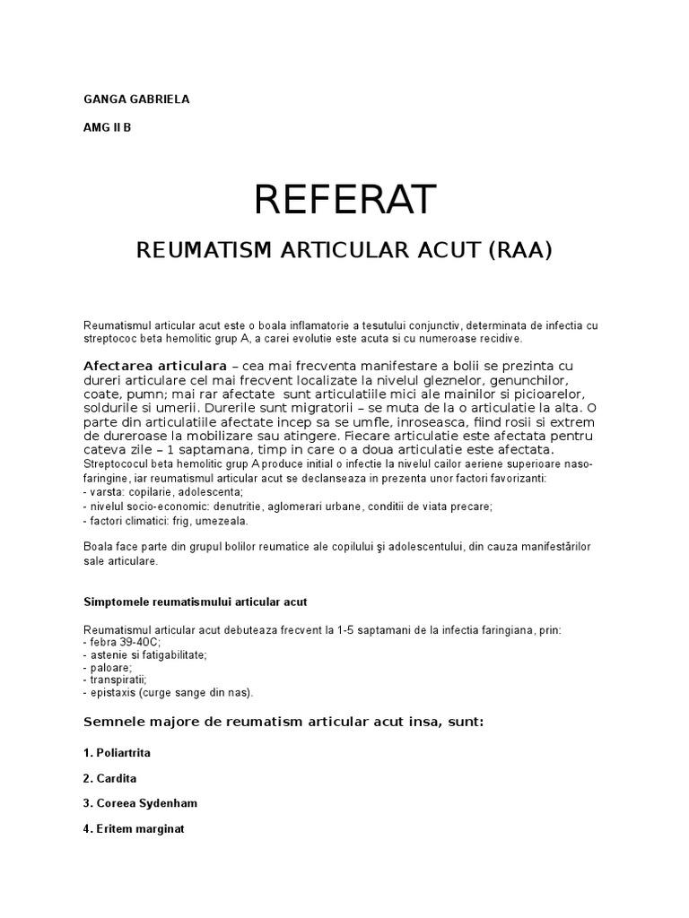 studiu de caz reumatismul articular acut ce dureri ale oaselor articulațiilor