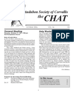 October 2006 Chat Newsletter Audubon Society of Corvallis