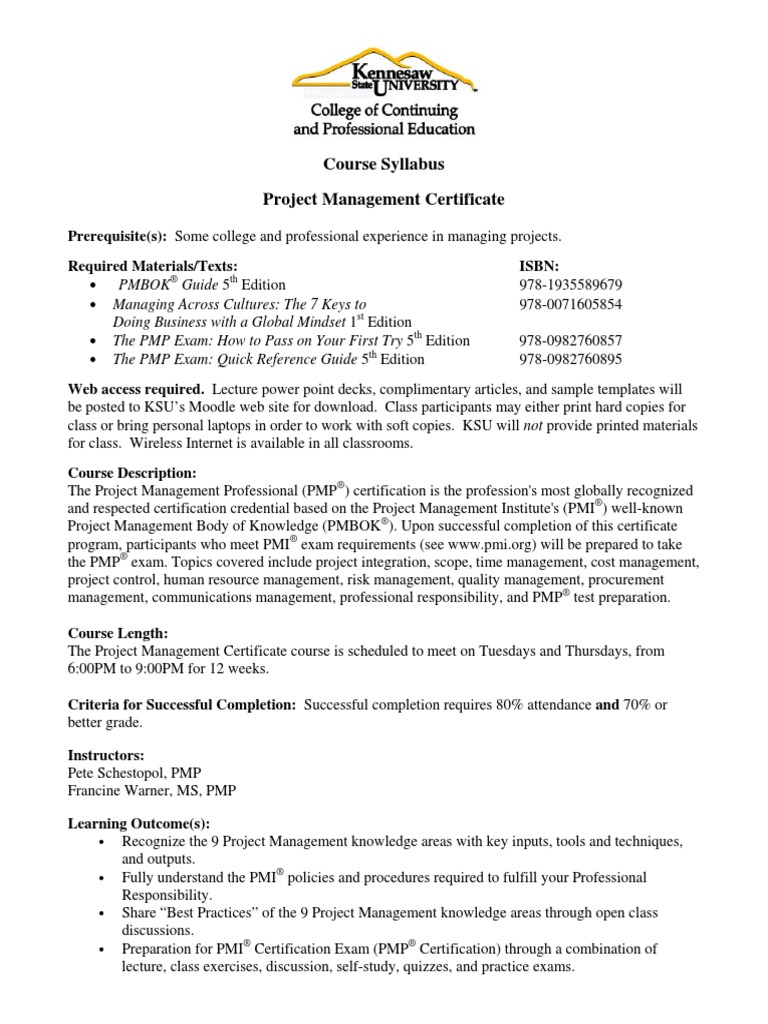 Course syllabus project management certificate kennesaw state course syllabus project management certificate kennesaw state university project management accountability xflitez Image collections