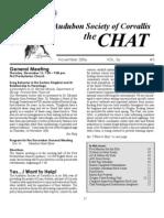 November 2006 Chat Newsletter Audubon Society of Corvallis