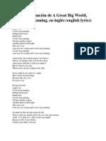 Letra de La Canción de a Great Big World