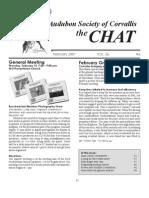February 2007 Chat Newsletter Audubon Society of Corvallis