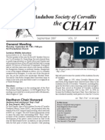 September 2007 Chat Newsletter Audubon Society of Corvallis