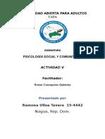 PSICOLOGÍA SOCIAL Y COMUNITARIA tarea 5.docx