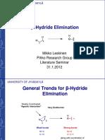 B Hydride Elimination