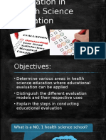 Evaluation in Health Science Education