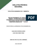 Análisis Experimental de Disipación de Energía, Distribución de Presiones y Resistencia Al Flujo de Una Rápida Con Fondo Escalonado Con Relación Altura (h) - Longitud de Grada (I) de 0.10