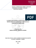 La Puesta en Valor de La Huaca Pucllana y Su Repercusión en La Conciencia Turística de La Comunidad de Miraflores