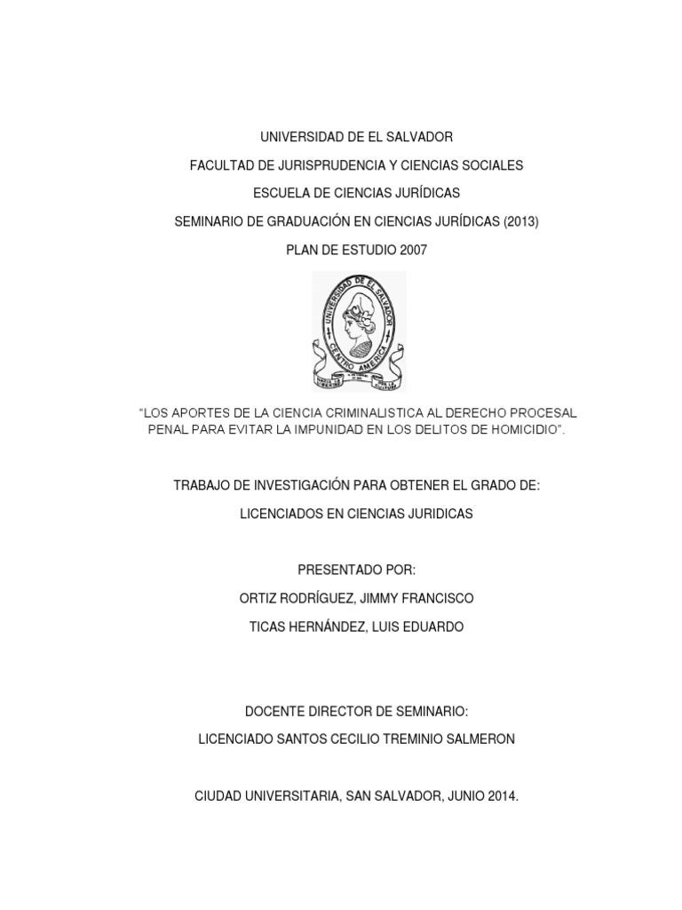 Los Aportes de La Ciencia Criminalistica Al Derecho Procesal Penal ...