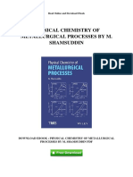 Physical Chemistry of Metallurgical Processes by m Shamsuddin