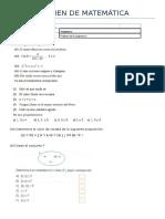 Examen de Matemática 1