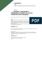 RABOSI, Fernando Etnografica 814 Vol 15 1 Negociacoes Associacoes e Monopolios a Politica Da Rua Em Ciudad Del Este Paraguai 1
