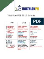 Triathlon PEI 2016 Events Schedule