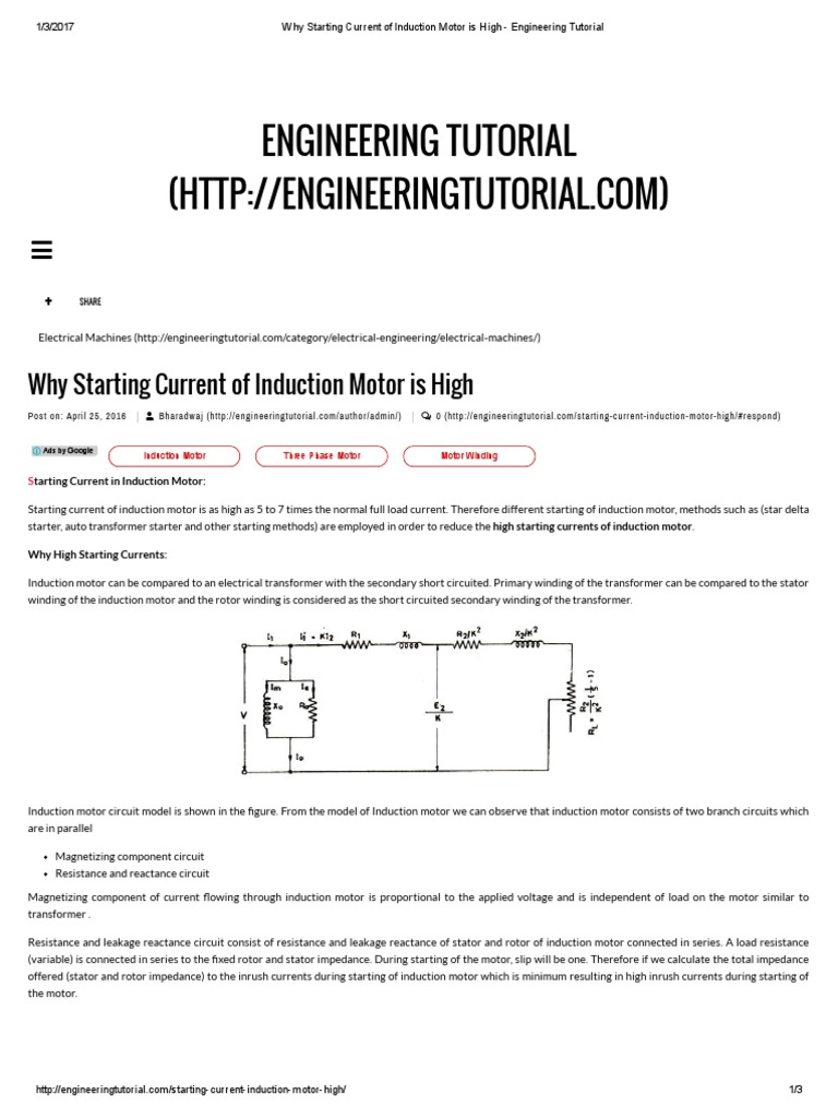 Why Starting Current Of Induction Motor Is High Engineering Shortcircuit From Dc Motors Generators Tutorial Electric Power Electromagnetism