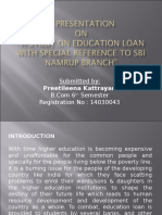 A Study on Education Loan With Special Reference to SBI Namrup Branch