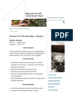 3 Sample Resume for HR Generalist - Download Now!