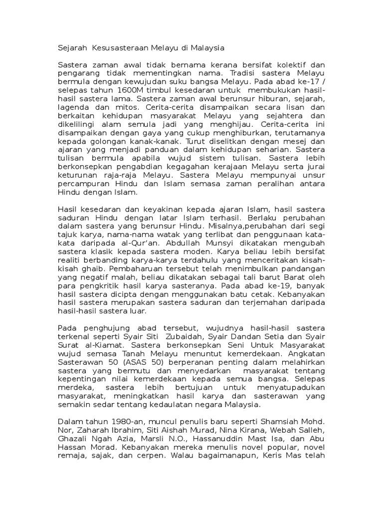 Nota Sejarah Kesusasteraan Melayu Di Malaysia Docx