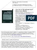 The Relationship Between Exposure to Televised Messages About Paranormal Phenomena and Paranormal Beliefs 1997