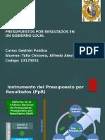 presupuesto por resultados en un gobierno local