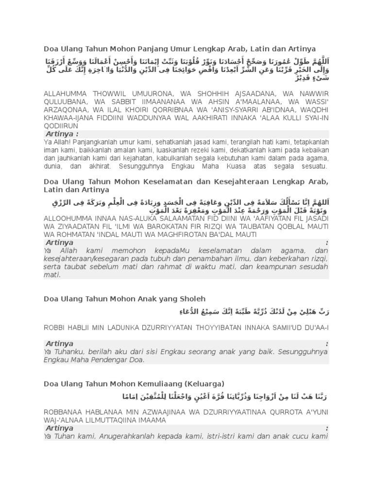Doa Ulang Tahun Mohon Panjang Umur Lengkap Arab