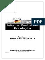 Informe de evaluación psicológica - organizacional