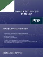 1- Analiza Satisfacției În Muncă