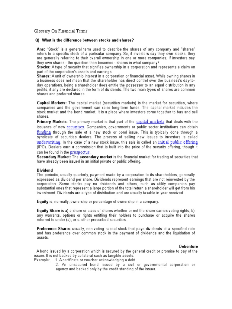 Updated Glossary Of Financial Terms 1c Option Finance Stocks