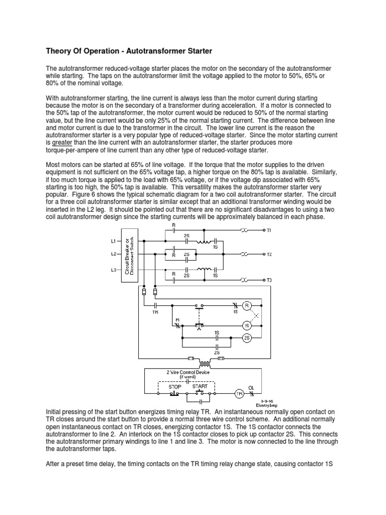 theory of operation - autotransformer starter pdf   power engineering    electrical components