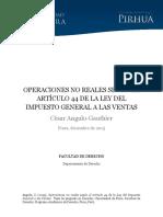 Operaciones no Reales Segun el Articulo 44° de la Ley del IGV