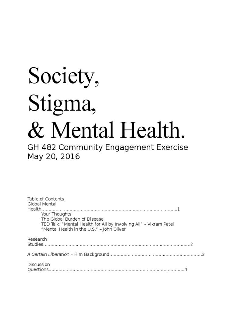 Cee 2 Handout Mental Health Social Stigma