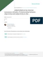 R elación entre la objetividad y la subjetividad en las ciencias humanas y sociales
