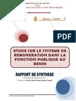 Rapport Synthese Etude Sur Le Systeme de Remuneration Dans La Fonction Publique Au Benin