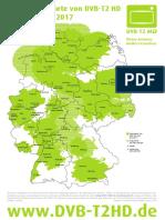 Německo - oblasti příjmu DVB-T2 (od listopadu 2017)