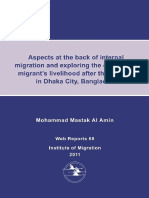 Factors Behind Internal Migration and Migrant's Livelihood Aspects in Dhaka, Bangladesh