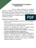Plan de Trabajo Departamento de Lenguaje y Comunicación