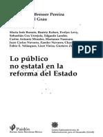 Bresser y Cunill Lo Publico No Estatal en La Reforma Del Estado