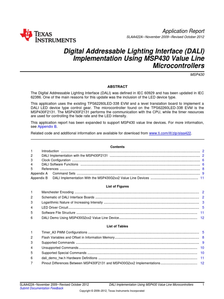 Dali Master With Msp430 | Flash Memory | Microcontroller