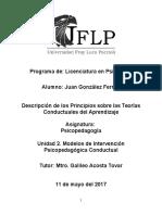 Descripción de Los Principios Sobre Las Teorías Conductuales Del Aprendizaje